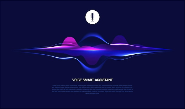 Voice smart assistant mit abstrakter schallwelle und mikrofon