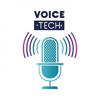 Voice-tech-label mit mikrofon und schallwelle