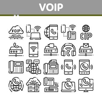 Voip-anrufsystem-sammlungs-ikonen eingestellt