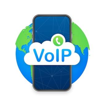 Voip-technologie, voice over ip. internet-calling-banner. vektor-illustration. vektor-illustration