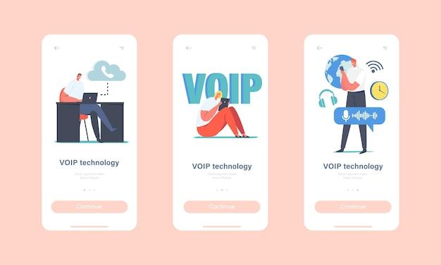Voip-technologie, voice over ip mobile app-seite onboard-bildschirmvorlage. charaktere nutzen telefonie, telekommunikation, telefonkommunikation über cloud-konzept. cartoon-menschen-vektor-illustration
