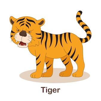 Vokabel-flash-karte für kinder. tiger mit tigerbild (vokabular für ger: a1-a2-niveau)