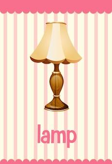 Vokabelkarte mit wort lampe