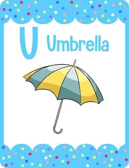 Vokabelkarte mit wort regenschirm
