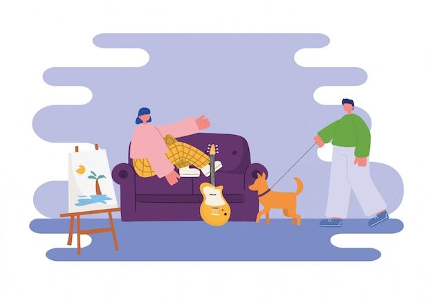 Volksaktivitäten, junge frau, die auf sofa und mann mit hund im raum sitzt