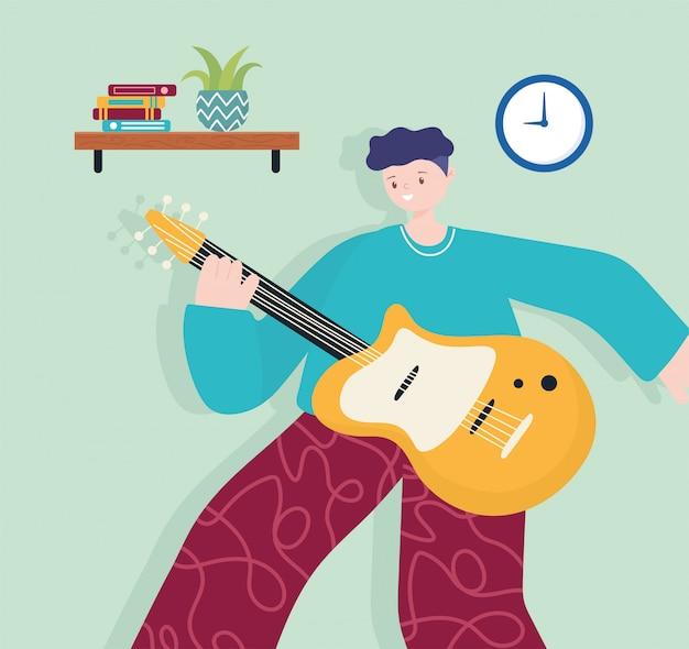 Volksaktivitäten, junger mann mit gitarrenmusikinstrument im raum