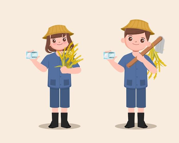 Volksbauer, der nationalen ausweiskarten-landwirtkultivatorcharakter mit rohreis hält