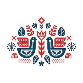 Volkskunstkomposition mit vögeln und dekorativen elementen.