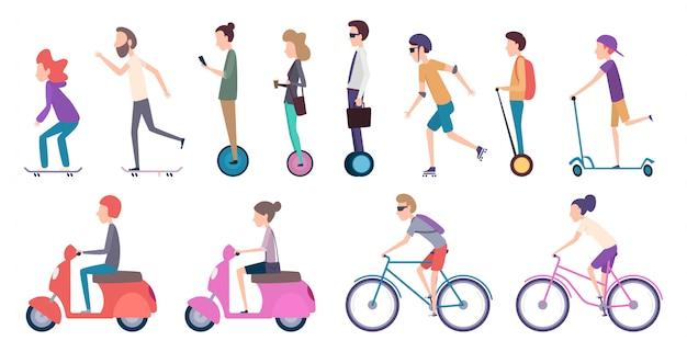 Volksstadtverkehr. überfüllte städtische transport elektroroller fahrzeug bewegung fahrrad rollwagen skate cartoon Premium Vektoren