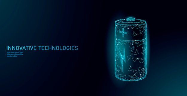 Voll aufgeladene polygonale alkalibatterie. energiespeicher elektrische wiederaufladbare versorgung. blau leuchtende polypolygonpartikelraum des dunklen himmels industrie-technologie-konzeptvektorillustration