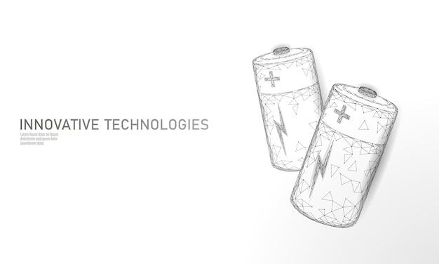Voll aufgeladene polygonale alkalibatterie. energiespeicher elektrische wiederaufladbare versorgung. weiße neutrale graue niedrige polypolygonteilchenraum-dunkelvektor-industrie-technologie-konzeptvektorillustration