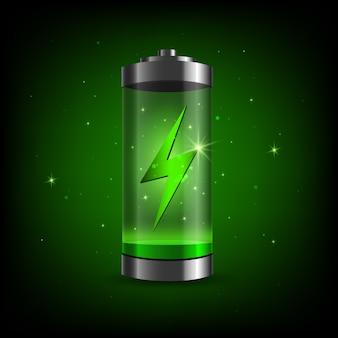 Voll aufgeladener grüner akku und kurzschluss. detailliertes symbol für den füllstand der hochglanzbatterie