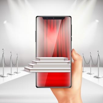 Vollbild-smartphone zeigt vorbereitung der preisverleihung auf dem roten teppich mit realistischer komposition der augmented reality app
