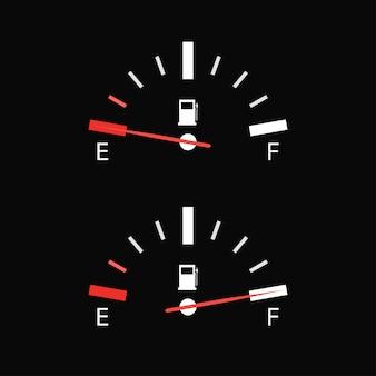 Volle tankanzeige-symbol auf schwarzem hintergrund
