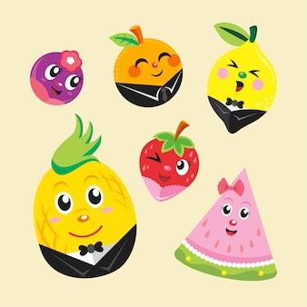 Vollen satz einzigartige früchte mit party-stil