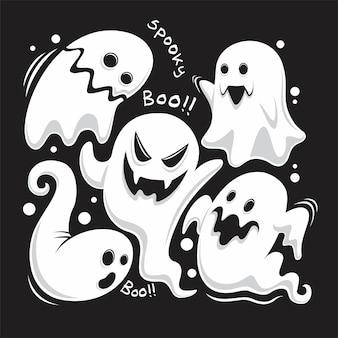 Vollen satz einzigartige geister der halloween-feier
