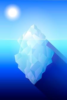 Voller großer eisberg in der flachen artvektorillustration des ozeans