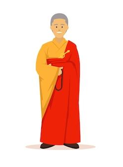 Voller körper des buddhistischen mönches mit orange roben