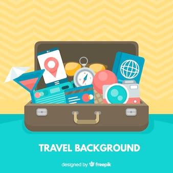 Voller kofferreisehintergrund