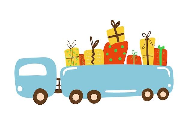 Voller lkw voller geschenke für das weihnachtsneujahr oder die geburtstagsfeier cartoon-vektor-illustration