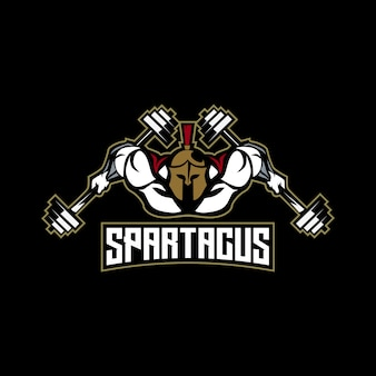 Voller muskelkörper des spartanischen eignungslogos