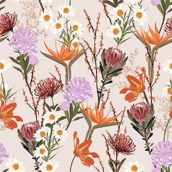 Voller unterschied art der blühenden gartenblume, botanische und wiesenblumen süße stimmung nahtloses muster