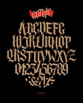 Volles alphabet im gotischen stil.