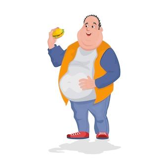 Volles mannhemd, das viele hamburger isst.