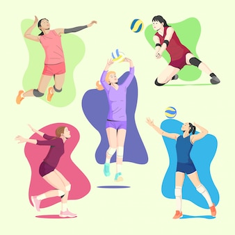 Volley ball weibliche spieler in verschiedenen bewegungen illustration sammlung