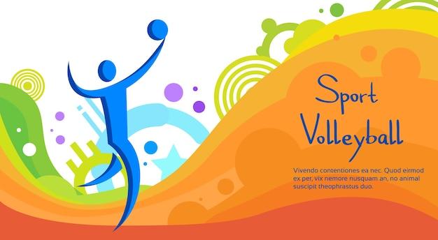 Volleyball-athleten-sport-wettbewerb-bunte fahne