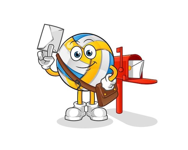 Volleyball-briefträger-zeichentrickfigur