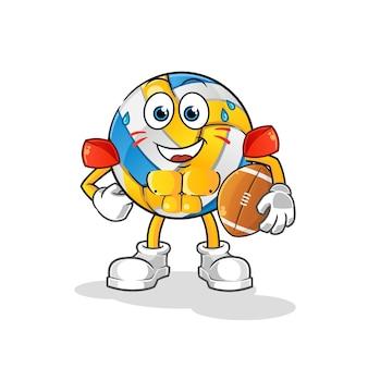 Volleyball, der rugby-zeichentrickfigur spielt