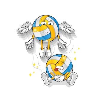 Volleyball-geist verlässt das körpermaskottchen. karikatur