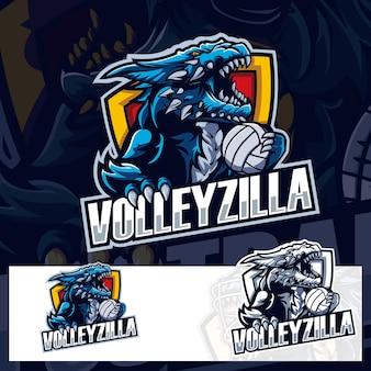 Volleyball godzila sport logo
