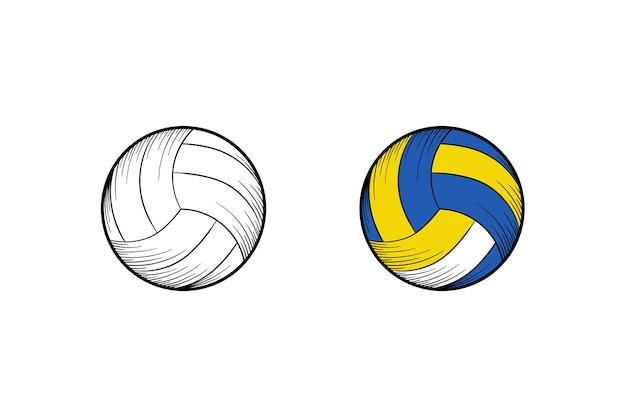 Volleyball hand gezeichnete illustrationsskizze und farbe