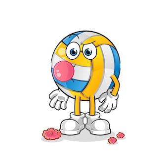 Volleyball-kaugummi-zeichentrickfigur