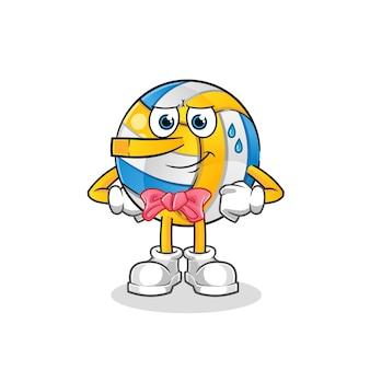 Volleyball liegt wie eine pinocchio-zeichentrickfigur