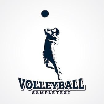 Volleyball-logo-vektor, erstklassiger schattenbild-vektor