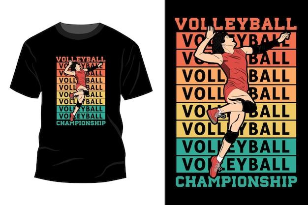Volleyball meisterschaft t-shirt mockup design vintage retro