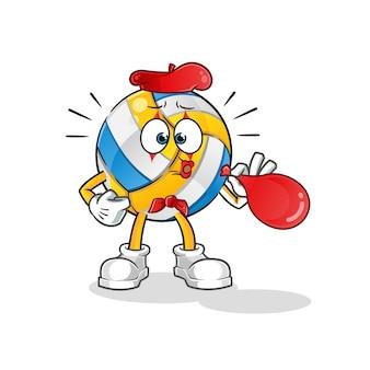 Volleyball pantomime bläst luftballons zeichentrickfigur