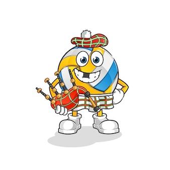 Volleyball schottisch mit dudelsack. zeichentrickfigur