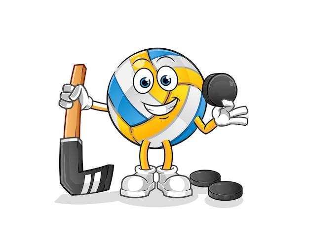 Volleyball spielen hockey zeichentrickfigur