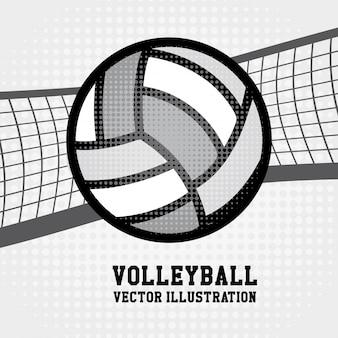 Volleyball sport über gepunkteten hintergrund vektor-illustration