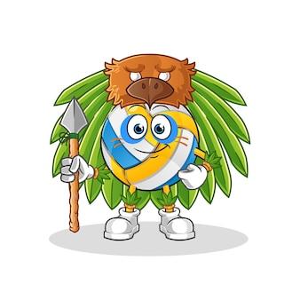 Volleyball-stammesmann-maskottchen-zeichentrickfigur