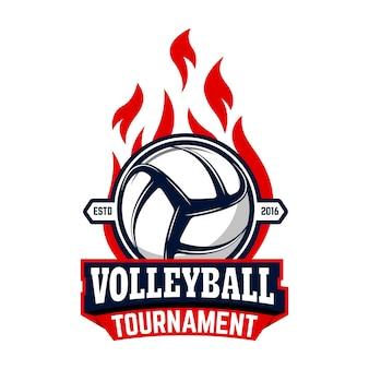 Volleyball turnier. etikettenvorlage mit volleyballball. element für logo, etikett, emblem, abzeichen, zeichen.