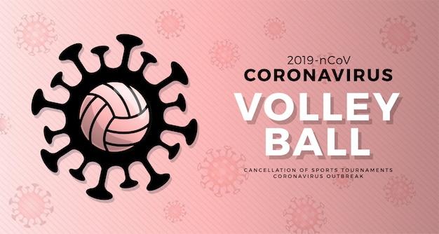 Volleyball vorsicht coronavirus. stoppen sie den ausbruch. coronavirus-gefahr und risiko für die öffentliche gesundheit krankheit und grippeausbruch. absage von sportveranstaltungen und spielkonzept