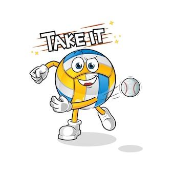Volleyball werfen baseball-zeichentrickfigur