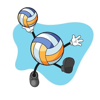 Volleyball-zeichentrickfigur mit zerschlagender geste