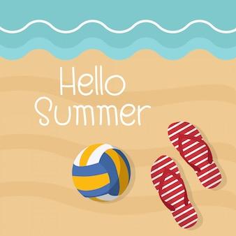 Volleyballball und flipflops auf dem sand, hallo sommer