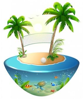 Volleyballnetz zwischen palmen und ball auf tropischer insel